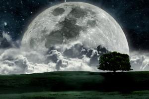 Full Moon Approaching Earth