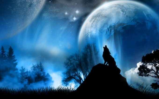 Space Art and Howling Wolf Wallpaper