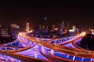 Shanghai Skyline and Highways Lit Up at Night