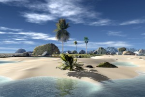 HD Beach with Sand and Palm Trees