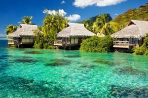 HD Tiki Huts on a Beach