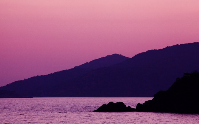 Pink Sunset Along the Shores